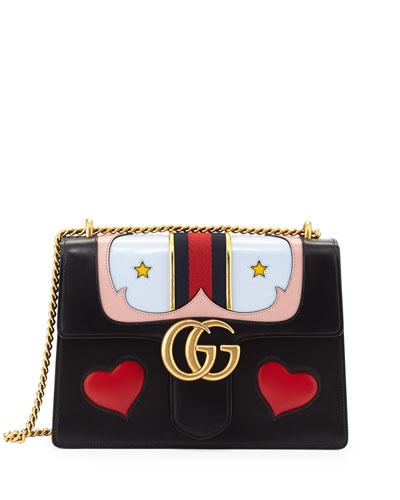 GG Marmont Medium Web Heart Shoulder Bag, Black/Multi
