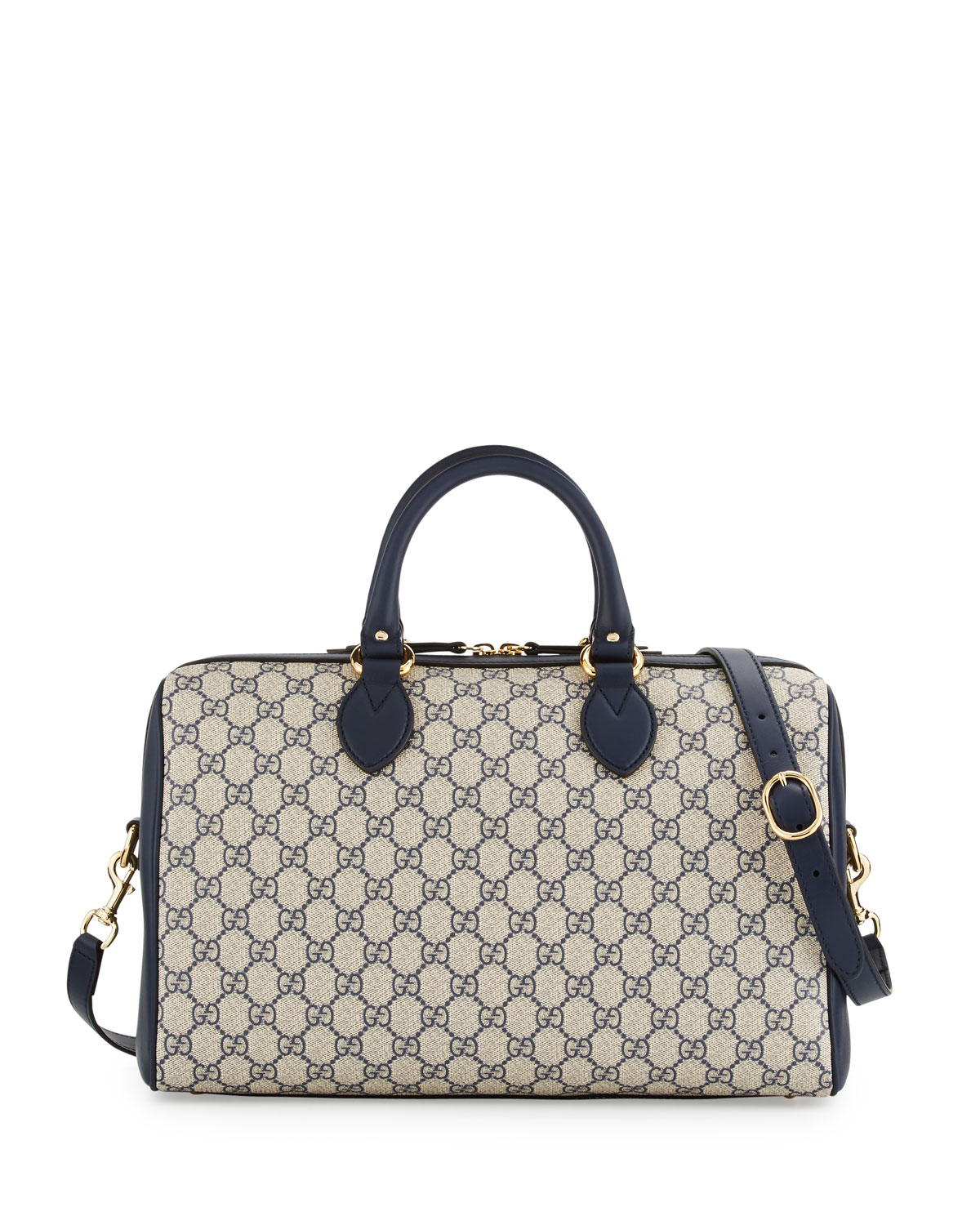 0e8add27c58a91 Gucci GG Supreme Top-Handle Large Boston Bag, Beige/Blue | Neiman Marcus
