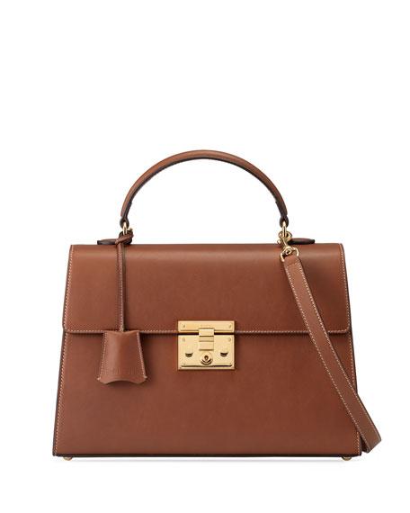 Padlock Leather Top-Handle Satchel Bag, Cuir