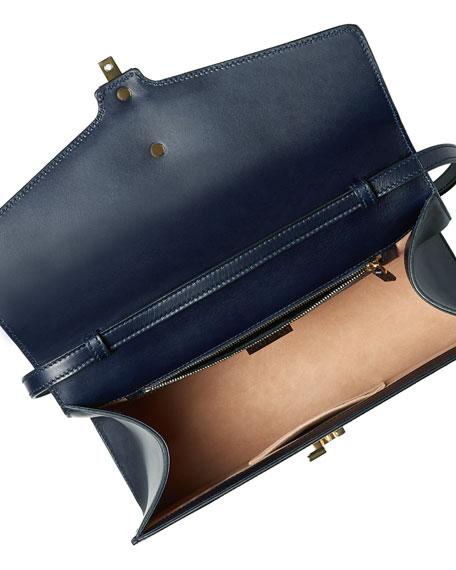 Sylvie Leather Top-Handle Satchel Bag, Blue