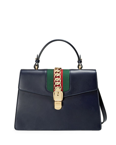 Gucci Sylvie Leather Top-Handle Satchel Bag H55W7CURPy
