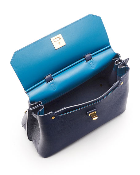 Milla Large Convertible Satchel, Navy Blue