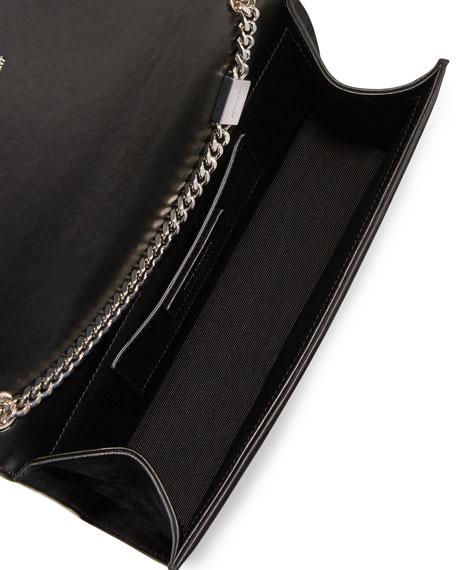 Monogram Medium Crystal Suede Shoulder Bag, Black