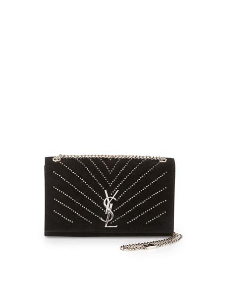 Saint LaurentMonogram Medium Crystal Suede Shoulder Bag, Black