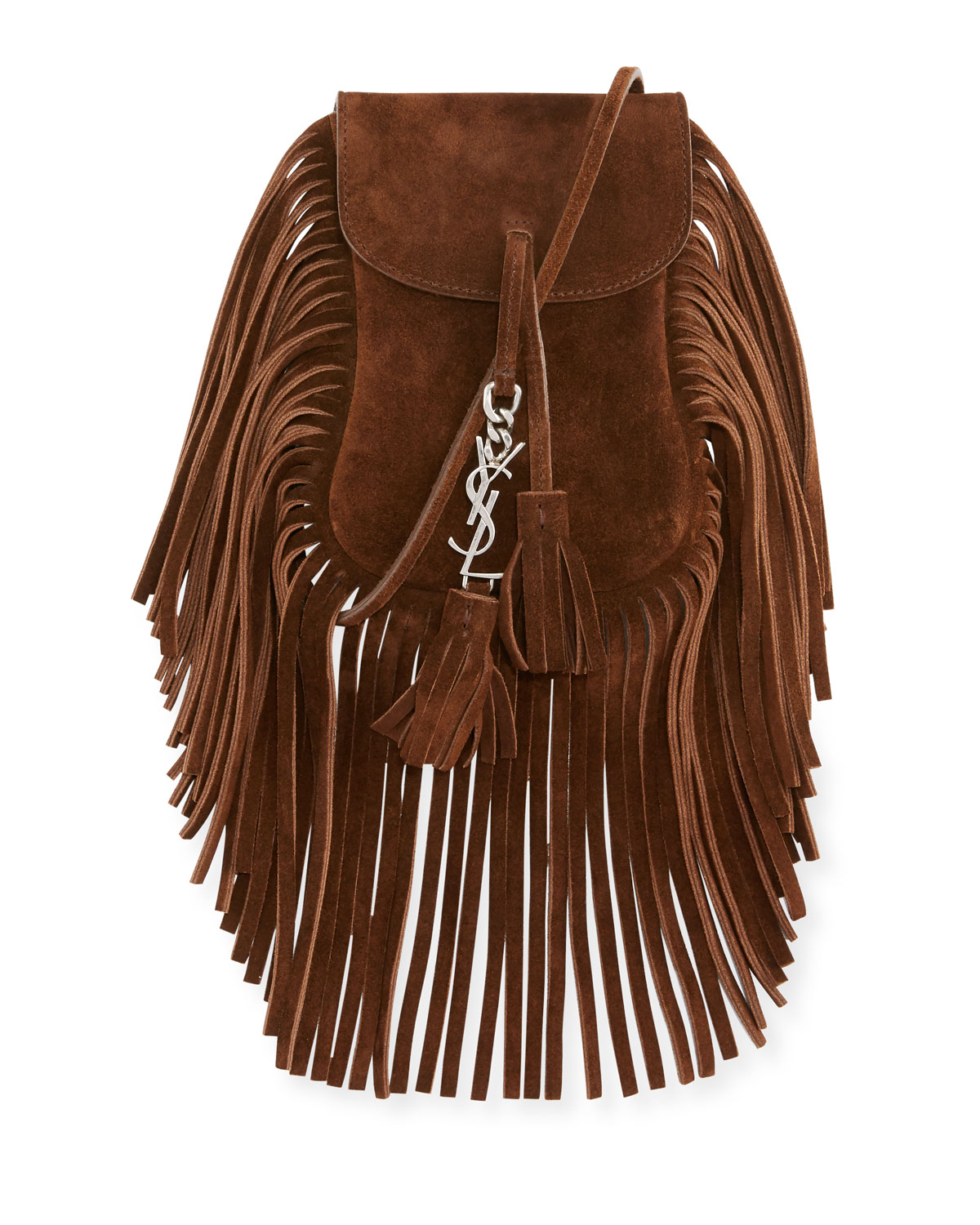 Saint Laurent Anita Toy Flat Suede Fringe Crossbody Bag