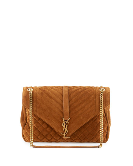 Monogram Large Mixed-Matelassé Suede Envelope Satchel Bag, Tan