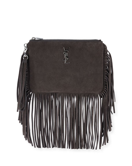 Saint Laurent Monogram Suede Fringe Pouch, Dark Gray