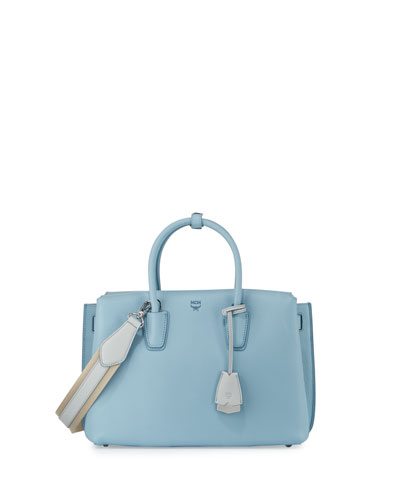 Milla Medium Leather Tote Bag, Sky Blue
