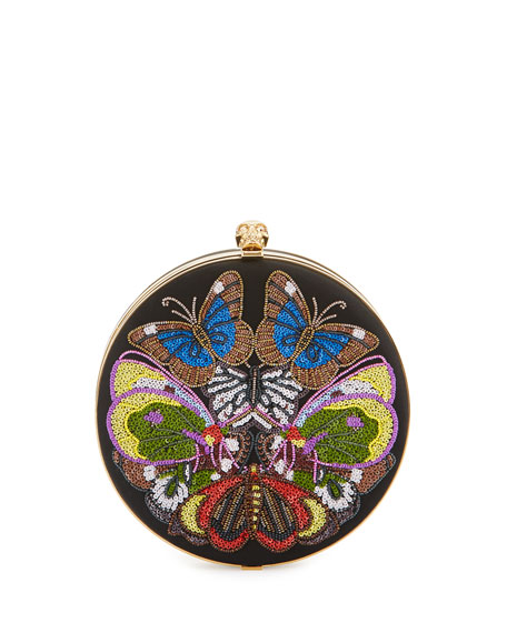 Round Skull Butterfly Clutch Bag, Black/Multi