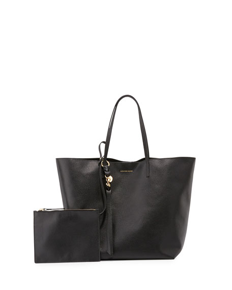 Alexander McQueen Skull Open Leather Shopper Tote Bag, Black