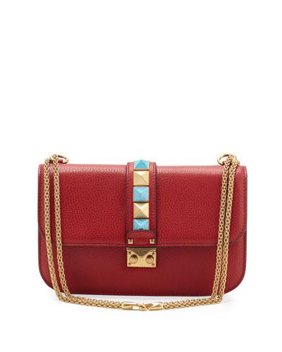Medium Rolling Lock Shoulder Bag, Red