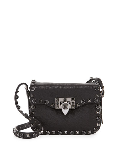 Rockstud Rolling Small Crossbody Bag, Black