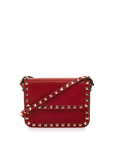 Rockstud Small Flap-Top Crossbody Bag, Red