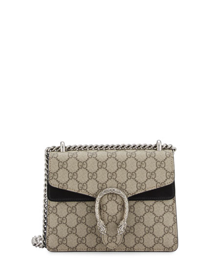 Dionysus Gg Supreme Mini Shoulder Bag, Beige/Black in Grey