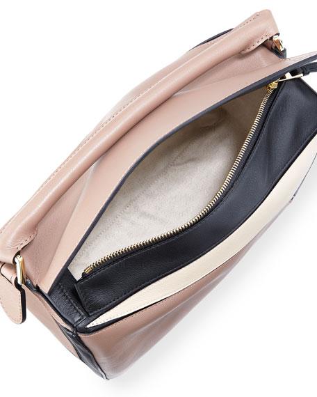 Puzzle Colorblock Leather Satchel Bag, Hazelnut/Black/Ivory