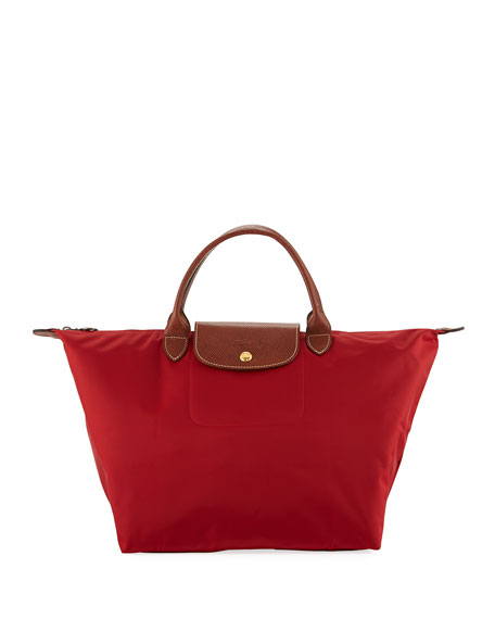 Longchamp Le Pliage Medium Handbag, Deep Red