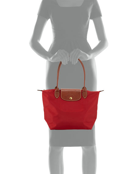 Le Pliage Medium Monogram Shoulder Tote Bag, Deep Red