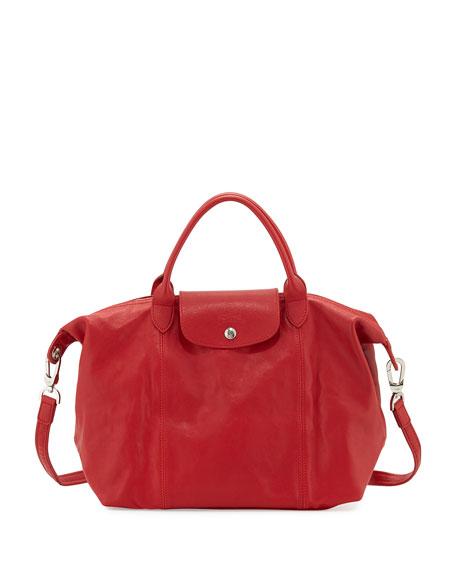 Longchamp Le Pliage Cuir Handbag with Strap, Cherry