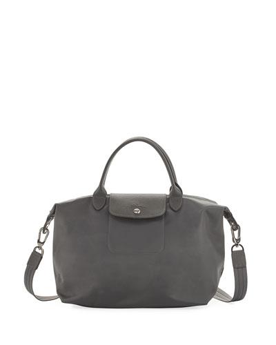 Le Pliage Neo Medium Handbag with Strap, Gray