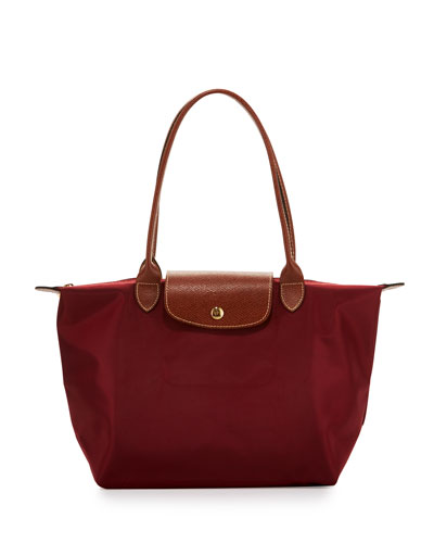 Le Pliage Medium Shoulder Tote Bag, Garnet