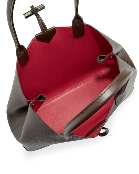 Roseau Reversible Leather Tote Bag, Ebony/Pink