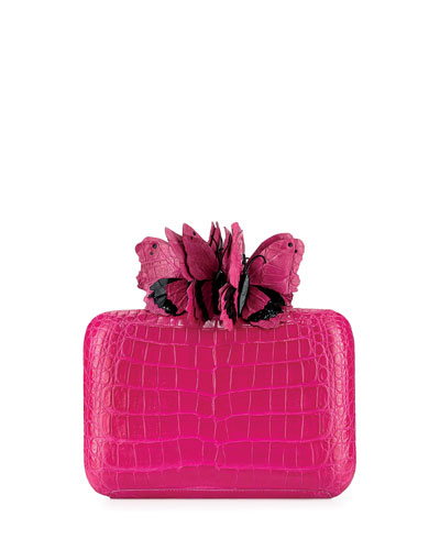 Butterfly Crocodile Box Clutch Bag, Black/Multi