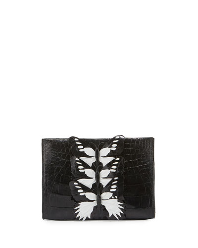 Butterfly Crocodile Small Clutch Bag, Black/White