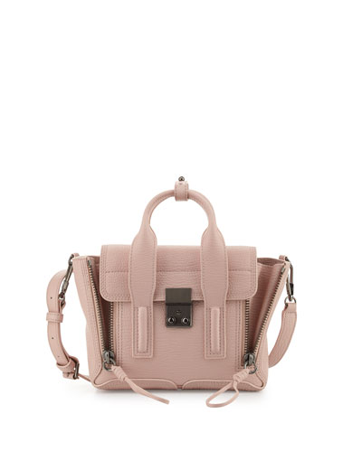Pashli Mini Leather Satchel Bag, Petal