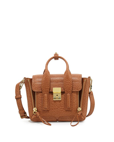 Pashli Mini Leather Satchel Bag, Camel/Cognac