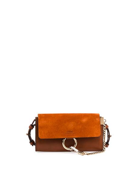 Chloe Faye Suede/Leather Wallet-on-a-Strap