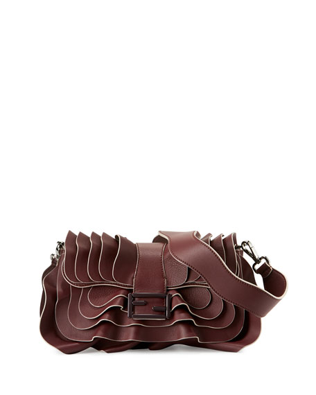 Fendi Baguette Multi-Wave Leather Bag, Bordeaux