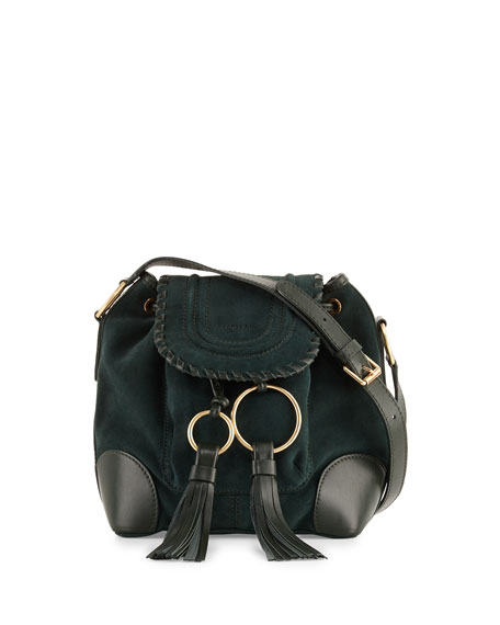 Polly Suede Flap Bucket Bag, Dark Forest