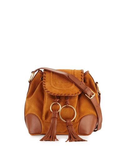 Polly Suede Flap Bucket Bag, Hazel