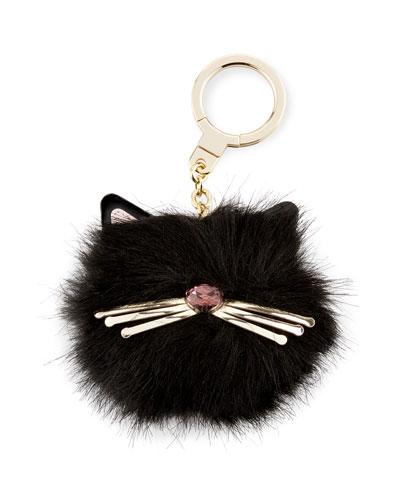 cat pouf key fob, black/multi