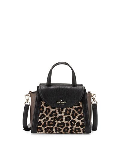 cobble hill adrien small calfhair satchel bag, leopard