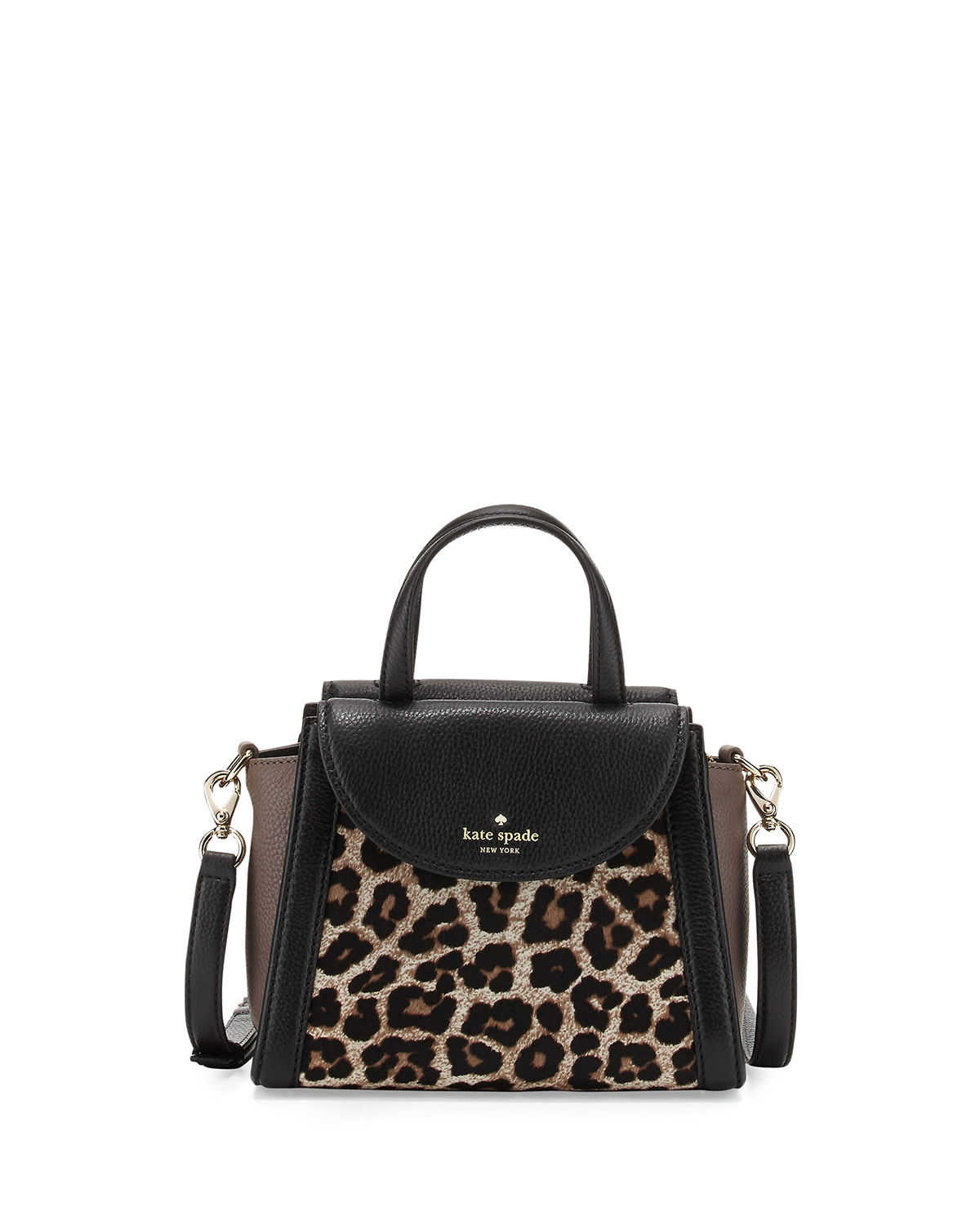 Cobble Hill Adrien Small Calfhair Satchel Bag Leopard