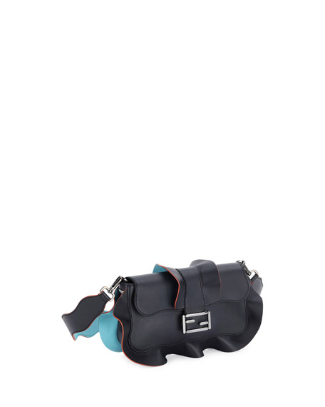 Baguette Wave Leather Bag, Black/Blue