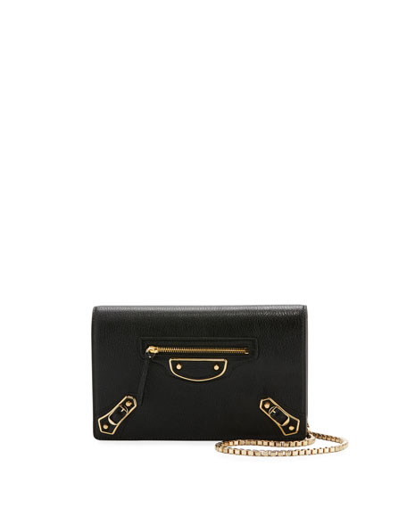 Balenciaga Classic Metallic Edge Wallet-on-Chain, Black (Noir)
