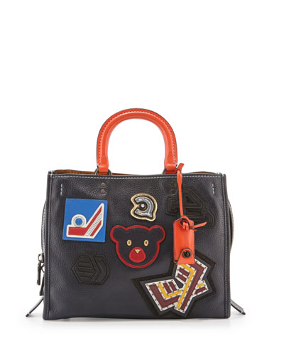 Rogue Varsity Patch Leather Tote Bag, Navy