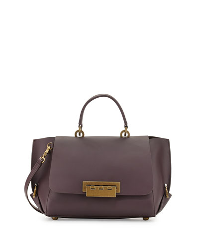Eartha Folded Gusset Satchel Bag, Raisin