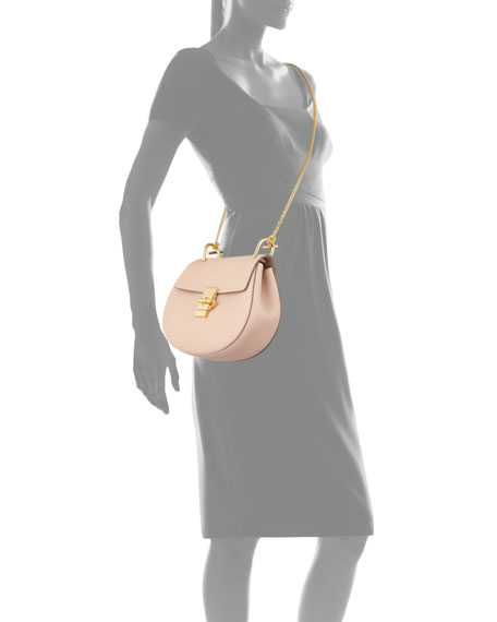 Drew Small Chain Saddle Bag, Cement Pink