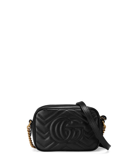 GG Marmont Mini Matelasse Camera Bag, Black