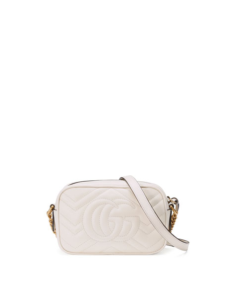 Image 3 of 4: GG Marmont Mini Matelasse Camera Bag, White