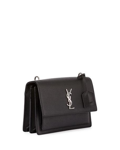Saint Laurent Sunset Medium Crossbody Bag, Black