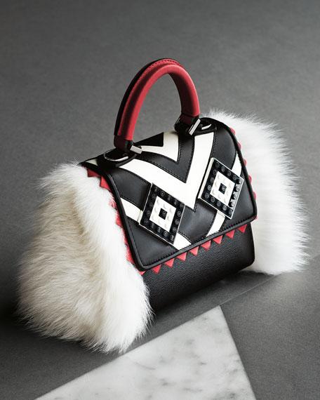 Micro Alex Mask Fur Satchel Bag, Black/White