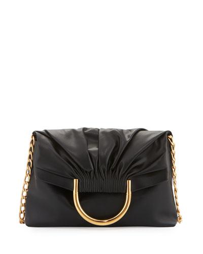 Alter Ruched Fold-Over Shoulder Bag, Black