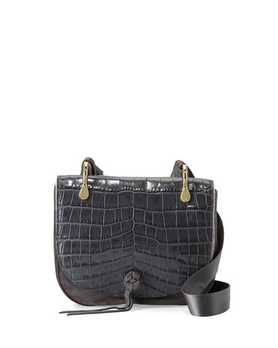 Zoe Crocodile-Embossed Saddle Bag, Putty