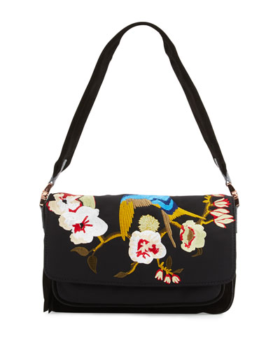 Willa Embroidered Shoulder Bag, Black