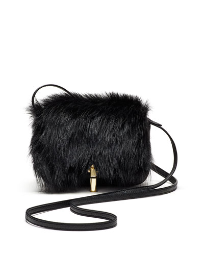 Cynnie Micro Shearling Fur Crossbody Bag, Black