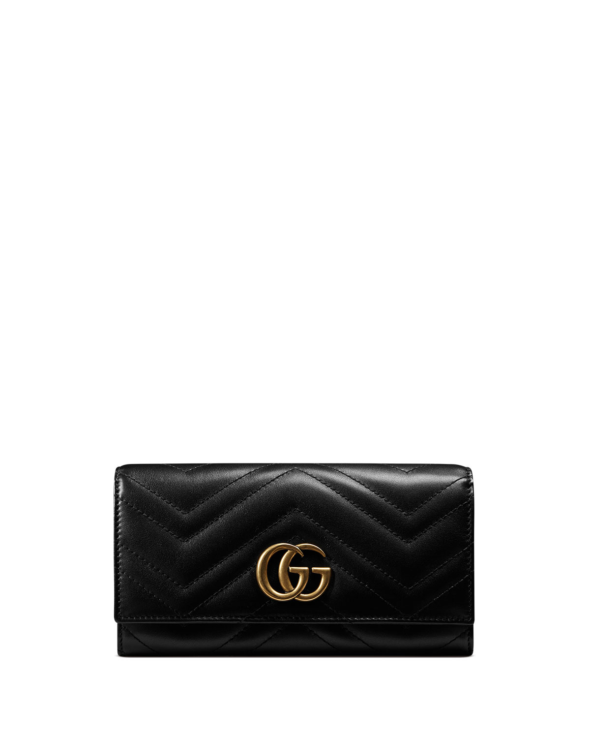 6abe0056589c Gucci GG Marmont Medium Quilted Flap Wallet, Black | Neiman Marcus